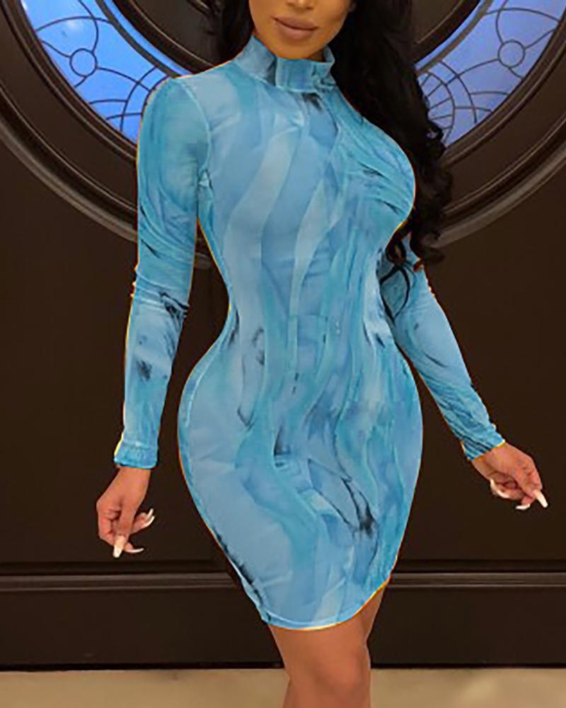 ivrose / Vestido de manga comprida de perspectiva de impressão abstrata