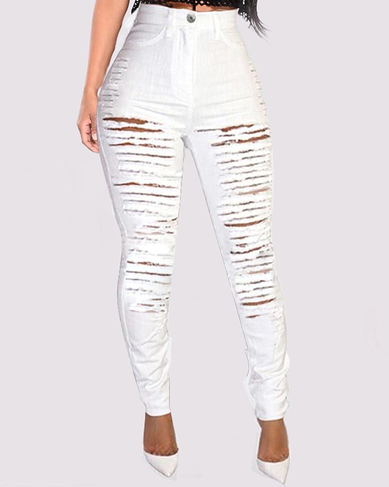 ivrose / Calças jeans com franja com recorte de escada
