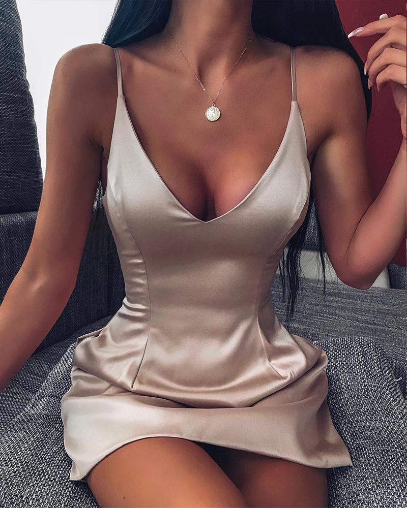 Champagne Scoop Neck Strappy Satin Dress фото