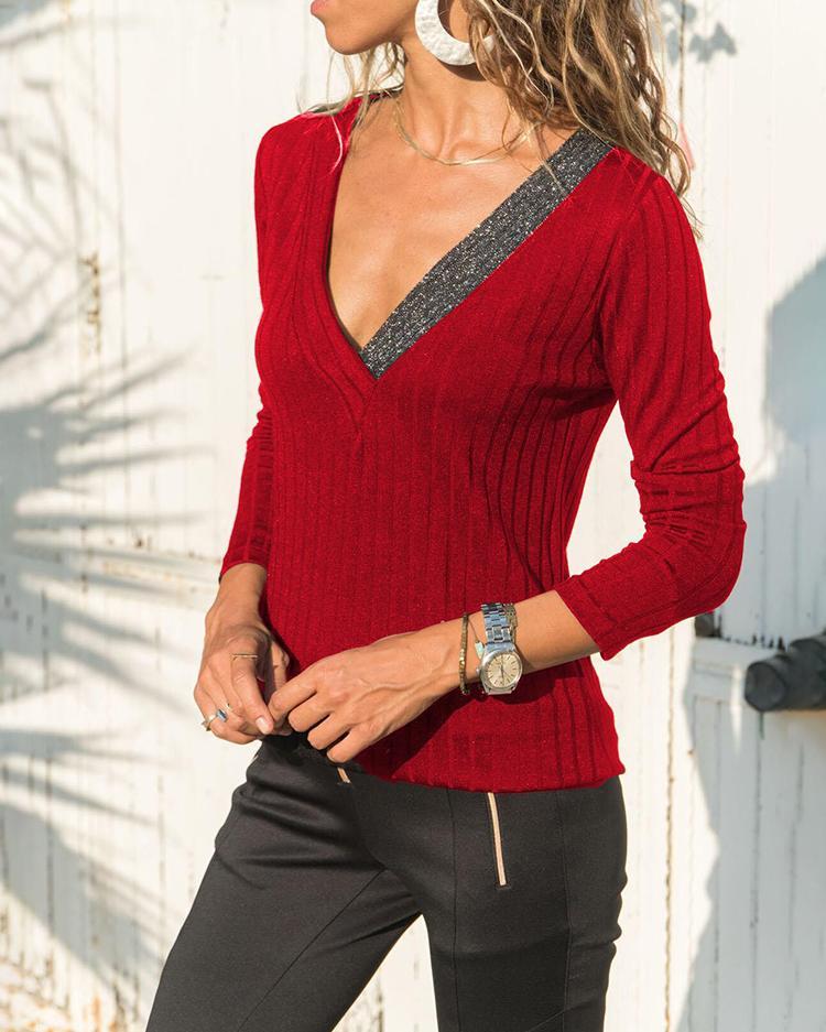 Long Sleeve V-Neck Sequins Splicing Top фото