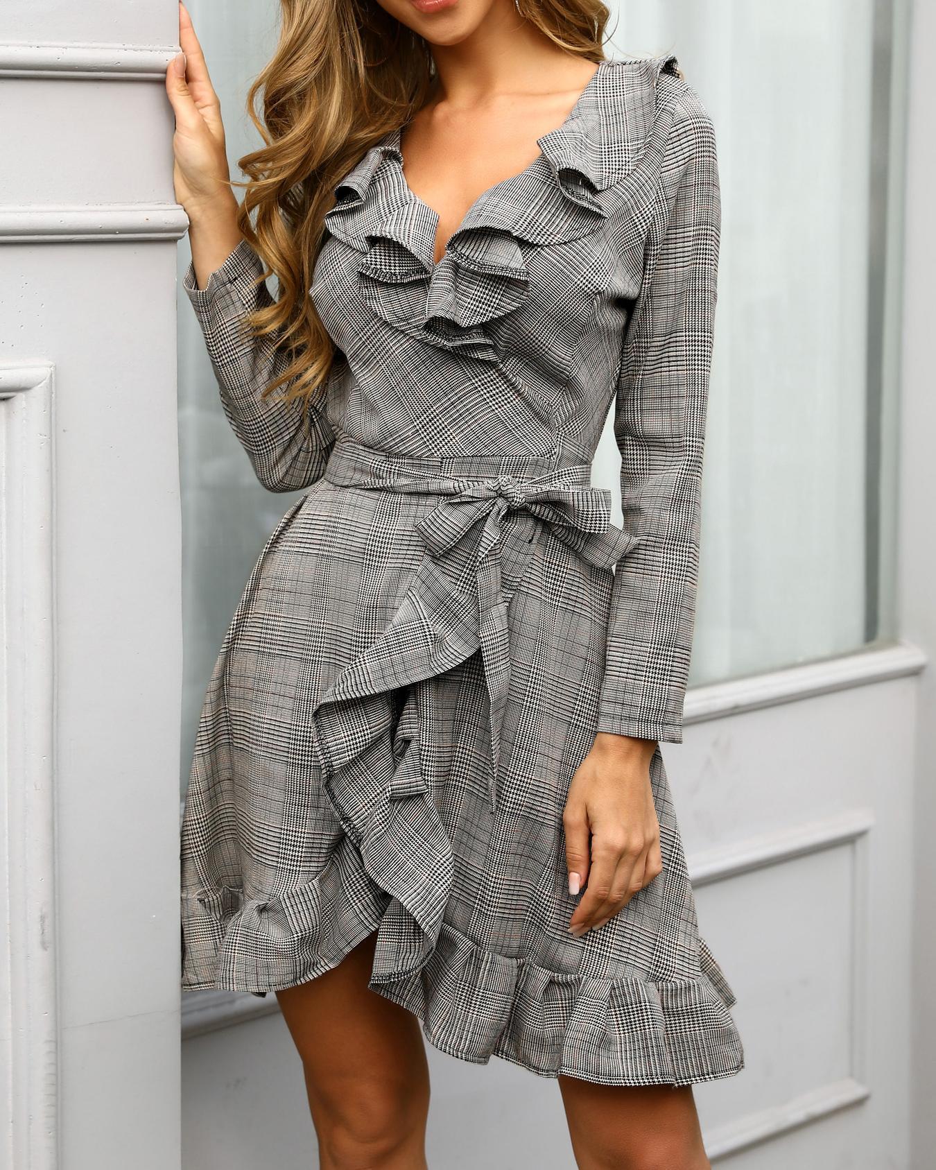 Plaid Print Ruffle Trim Tie Waist Wrap Dress