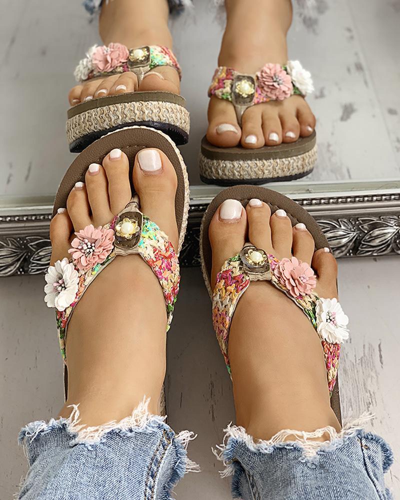 boutiquefeel / Sandalias planas trenzadas flor del dedo del pie