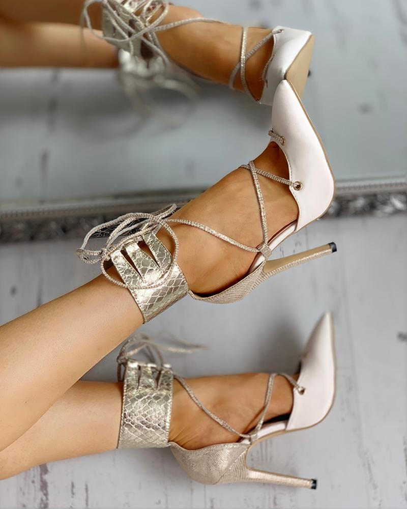 Pointed Toe Ankle Tied Design Thin Heels