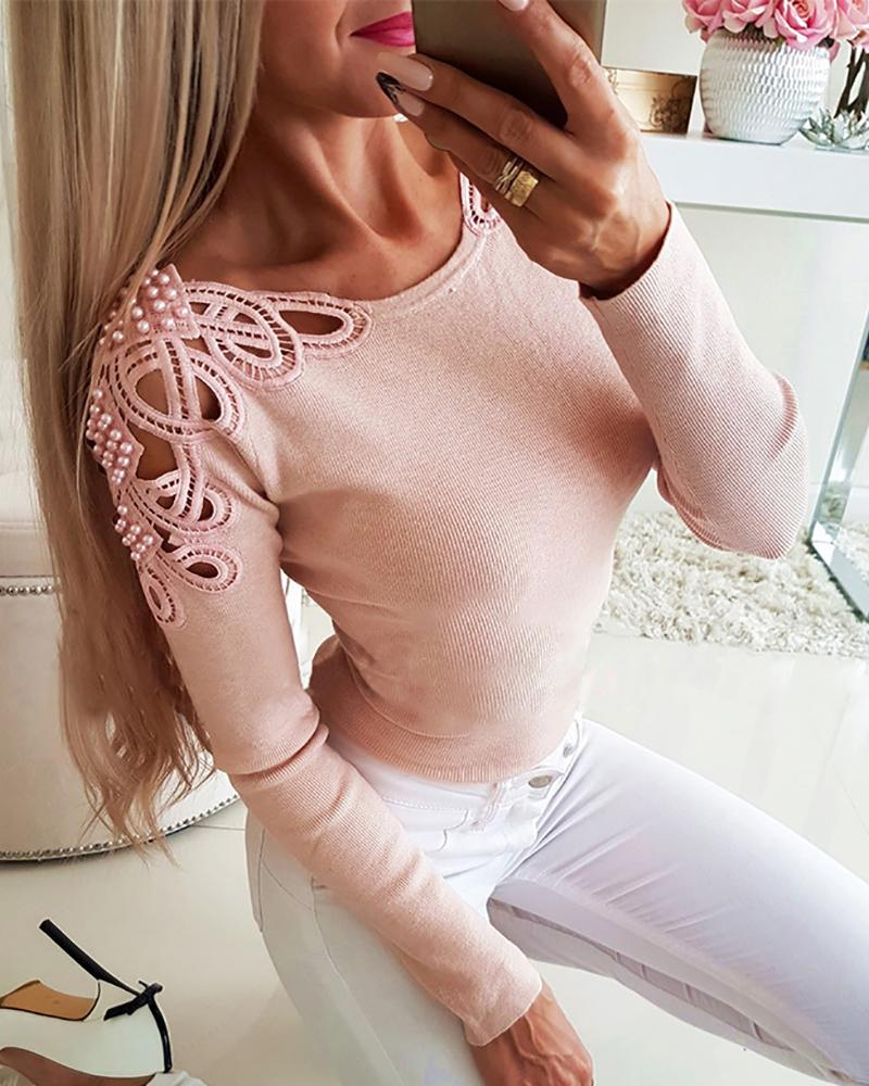 Beaded Hollow Out Ribbed Blouse фото
