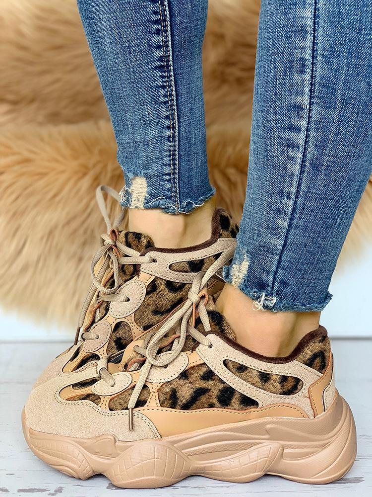 Suede Leopard Insert Lace-Up Sneakers