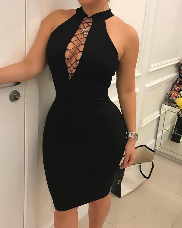 ivrose / Vestido ajustado sin mangas con cordones