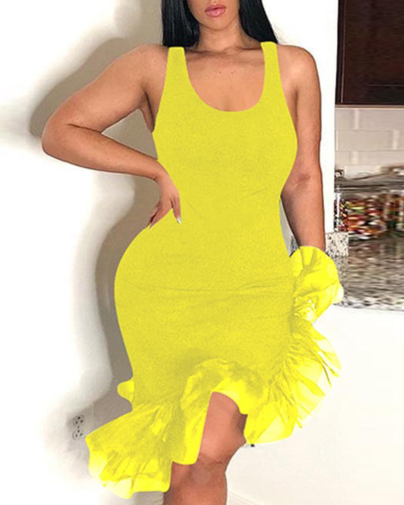 U-Neck Irregular Mesh Hem Bodycon Dress фото