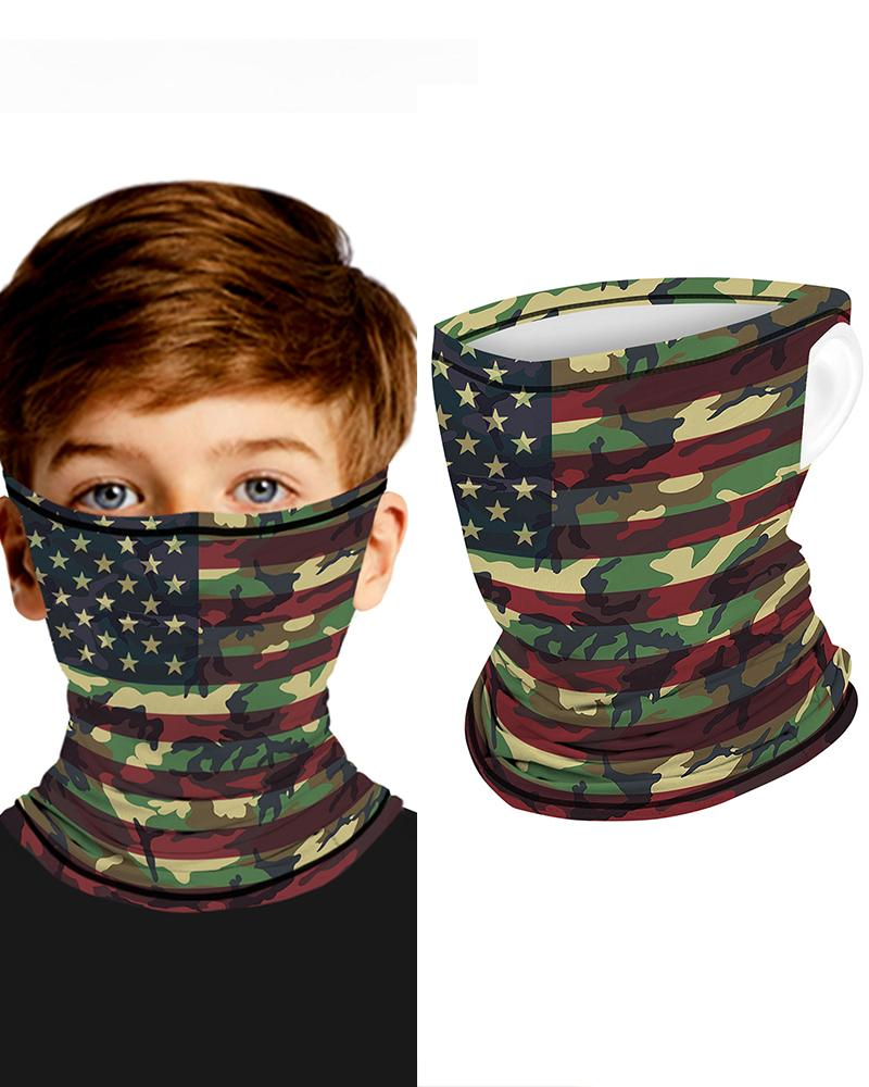 Camouflage Flag Print Breathable Ear Loop Face Bandana Headwrap For Children фото