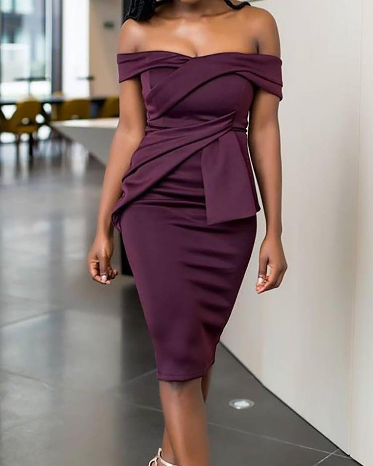 Fold Over Off Shoulder Asymmetric Scrunch Midi Dress