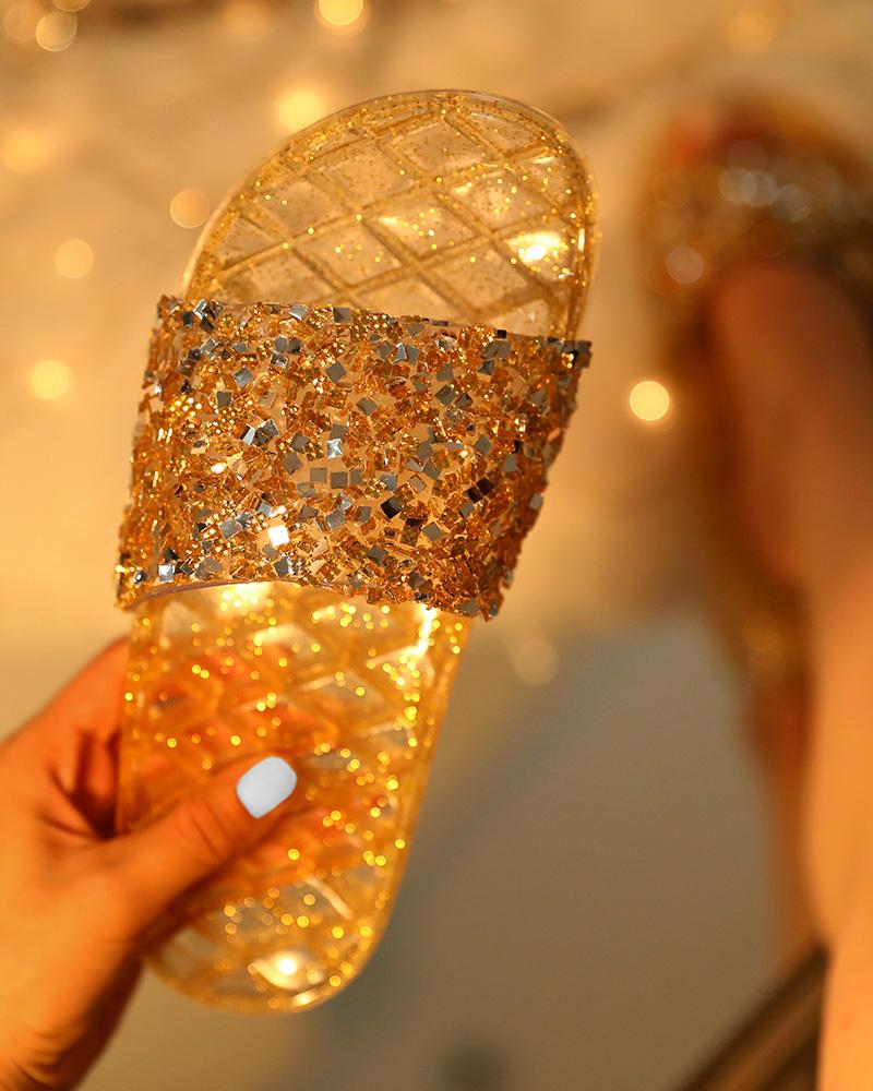 Open Toe Glitter Studded Flat Sandals фото