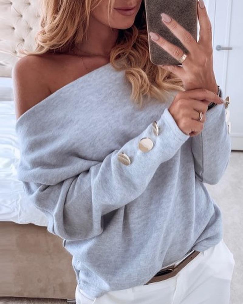chicme / Blusa de manga comprida abotoada