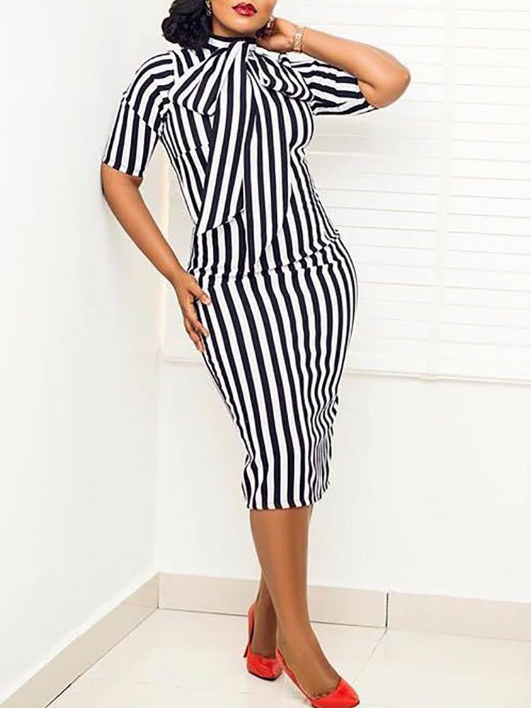 Striped Tie Neck Bodycon Dress фото