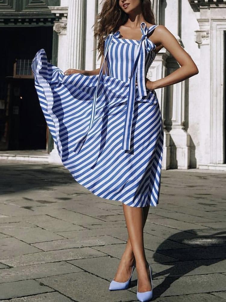 Striped Tied Shoulder Casaul Dress фото