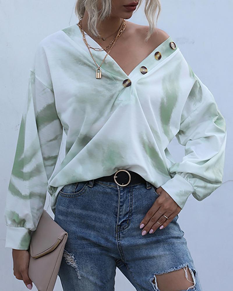 Tie Dye Print Button Design Sweatshirts фото