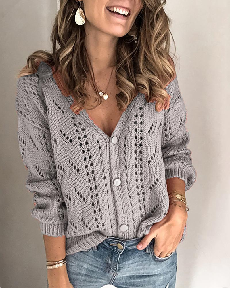 Open Front Long Sleeve Hollow Out Knitting Top фото