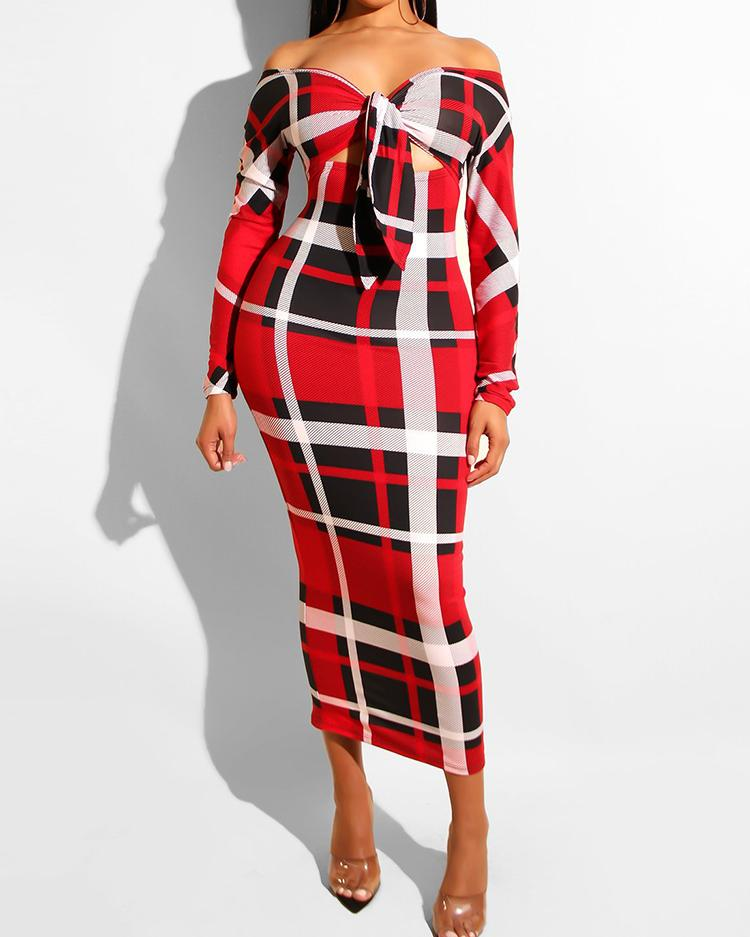 Off Shoulder Knotted Cut Out Plaid Dress фото