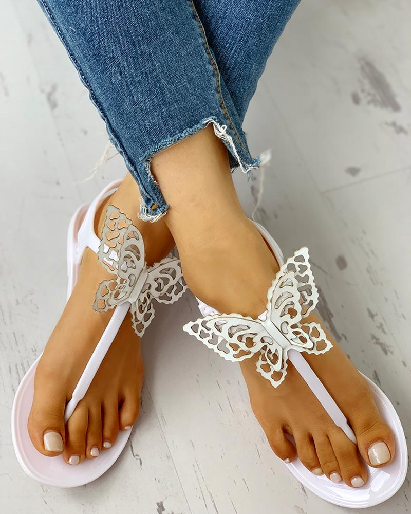 Toe Post Butterfly Design Flat Sandals фото