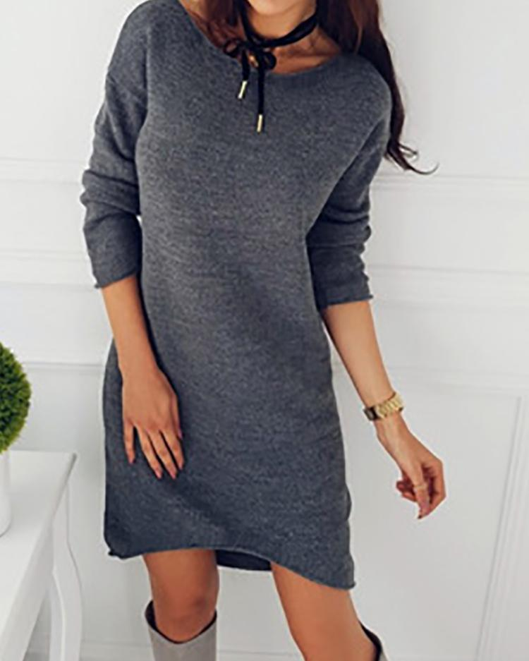 Solid Crew Neck Long Sleeve Casual Mini Dress chicme