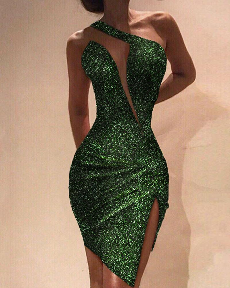 boutiquefeel / Vestido de lentejuelas sin mangas con abertura en un hombro