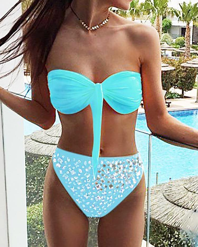 boutiquefeel / Brillante decorado Anudado Bandeau frontal Bikini