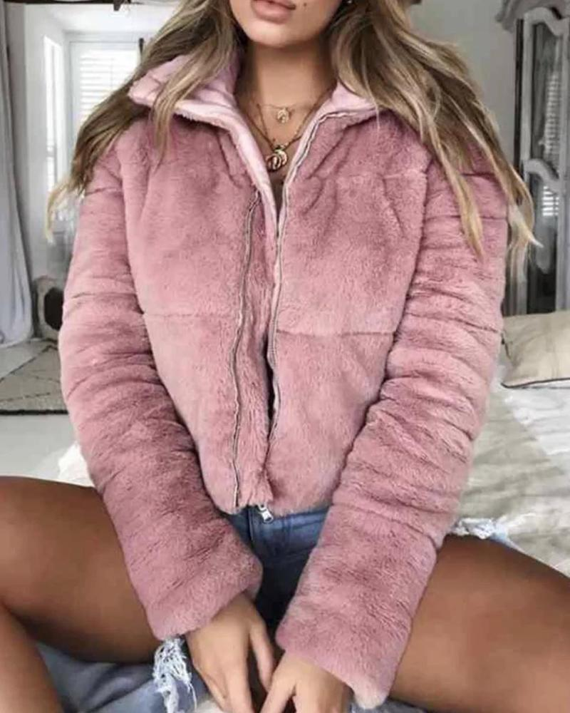 joyshoetique / Faux Shearling Zip Coat