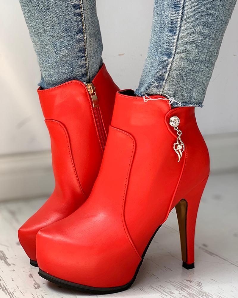 Solid Pointed Toe Zipper Design Platform Thin Heels