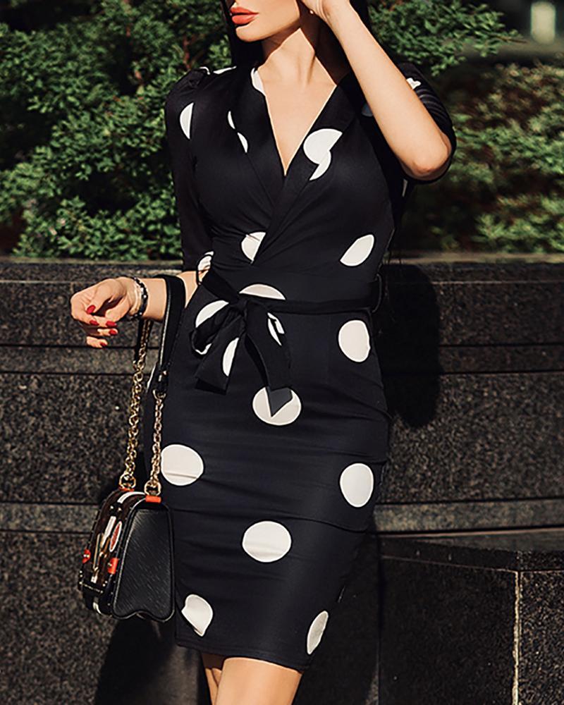Notched Neck Dot Print Work Dress