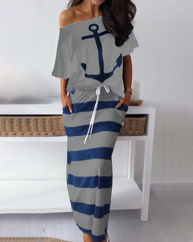 Boat Anchor Print T-Shirt & Striped Skirt Sets, joyshoetique, gray  - buy with discount