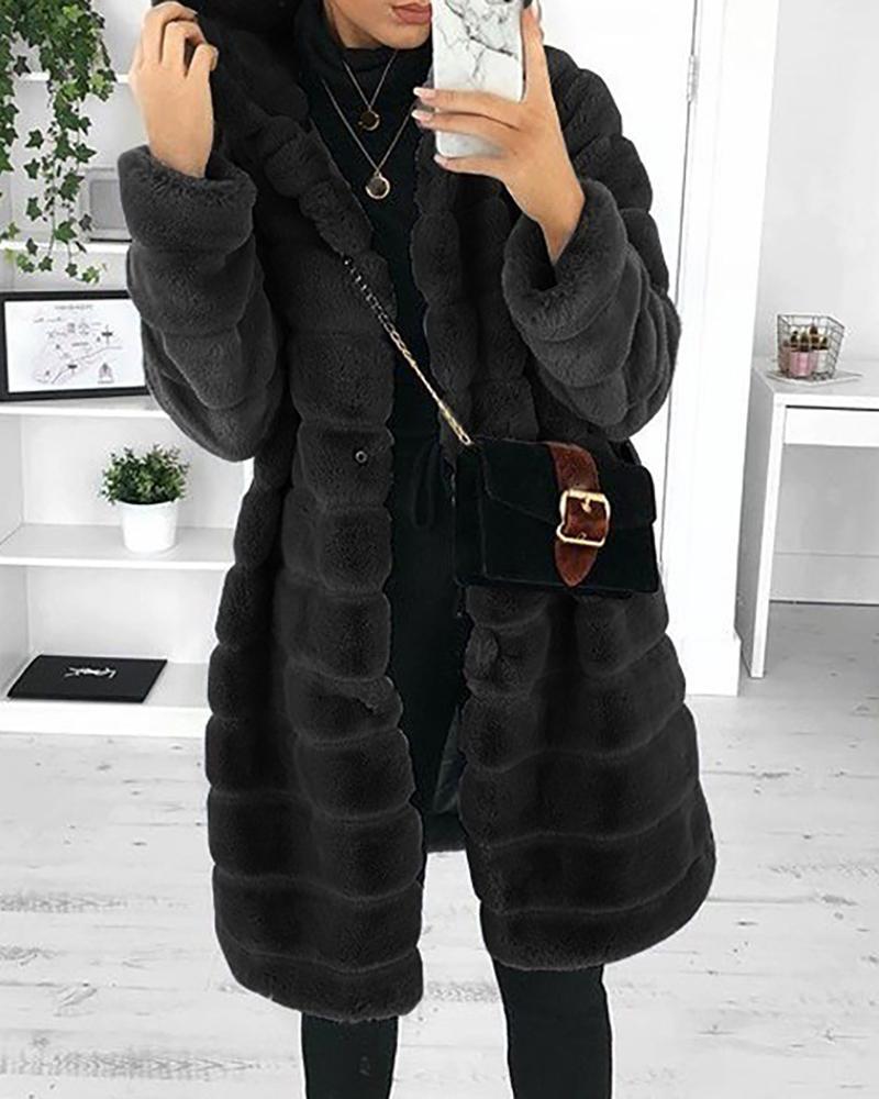 chicme / Pocket Design Long Sleeve Hooded Teddy Coat
