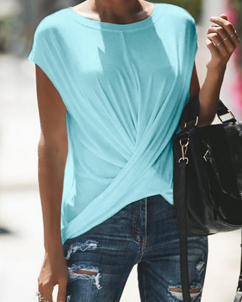 Solid Short Sleeve Crisscross Ruched T-Shirt фото