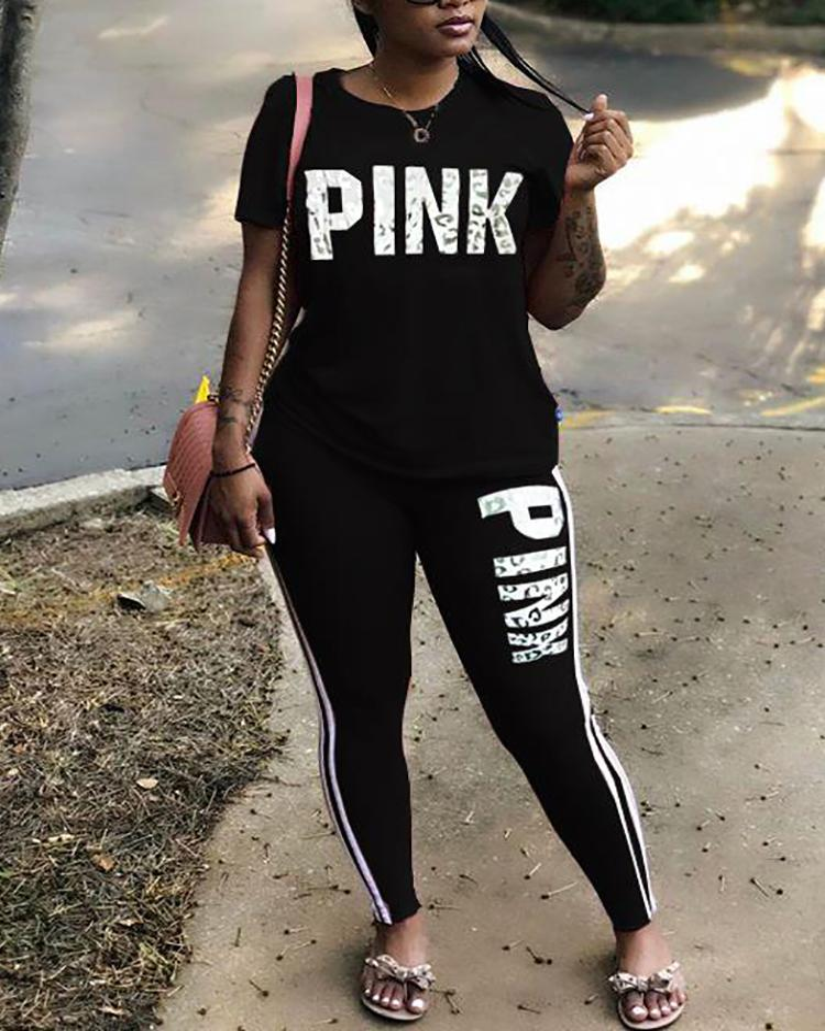 Fashion Striped Letter Print T-shirt & Pants Set