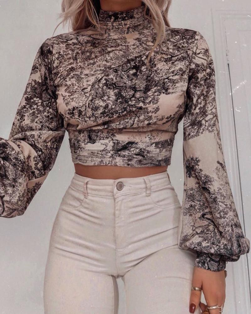 Abstract Print Ruffles Detail Backless Blouse