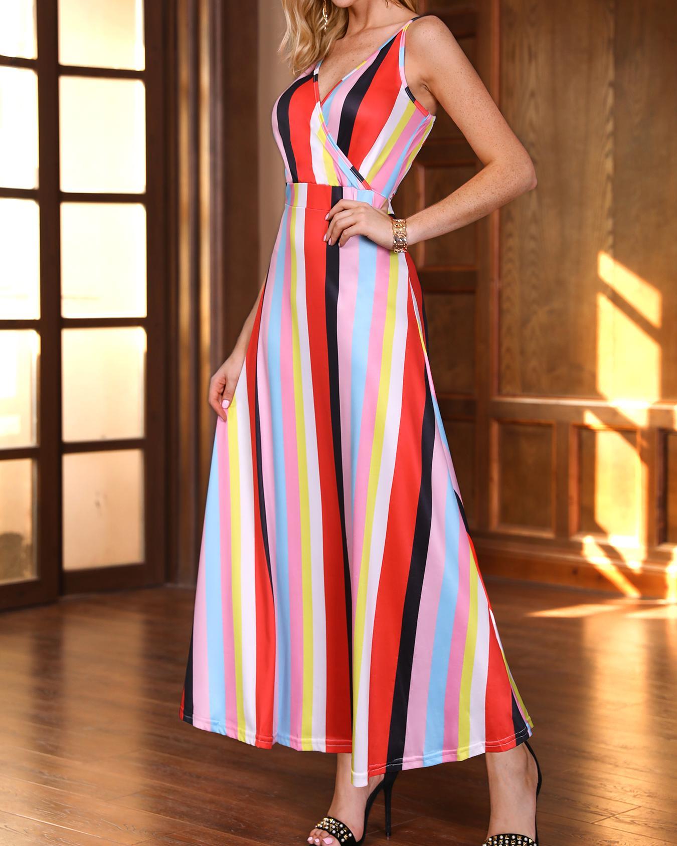 joyshoetique / Multicolored Spaghetti Strap Striped Maxi Dress
