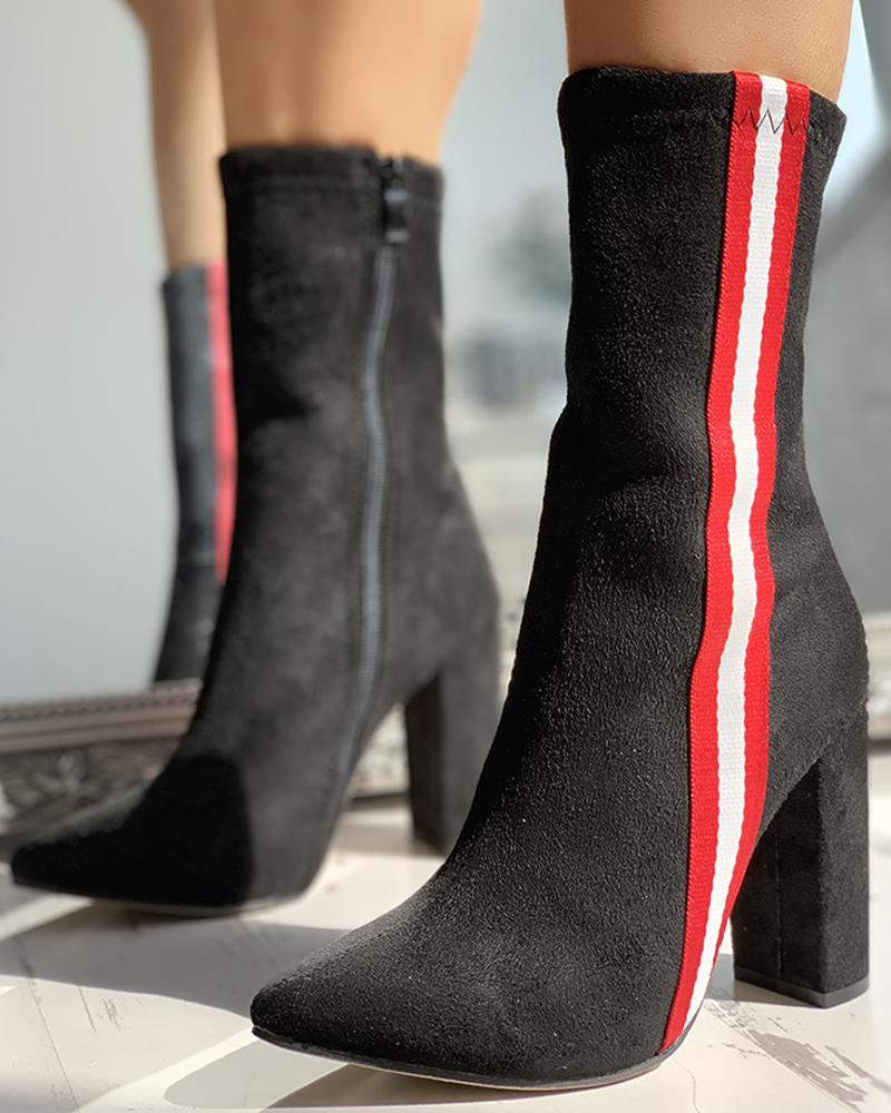 Colorblock Striped Tape Chunky Heeled Boots