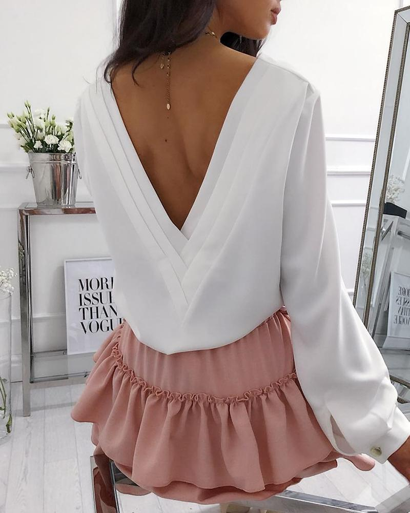 Layered Plunge Back Casual Blouse