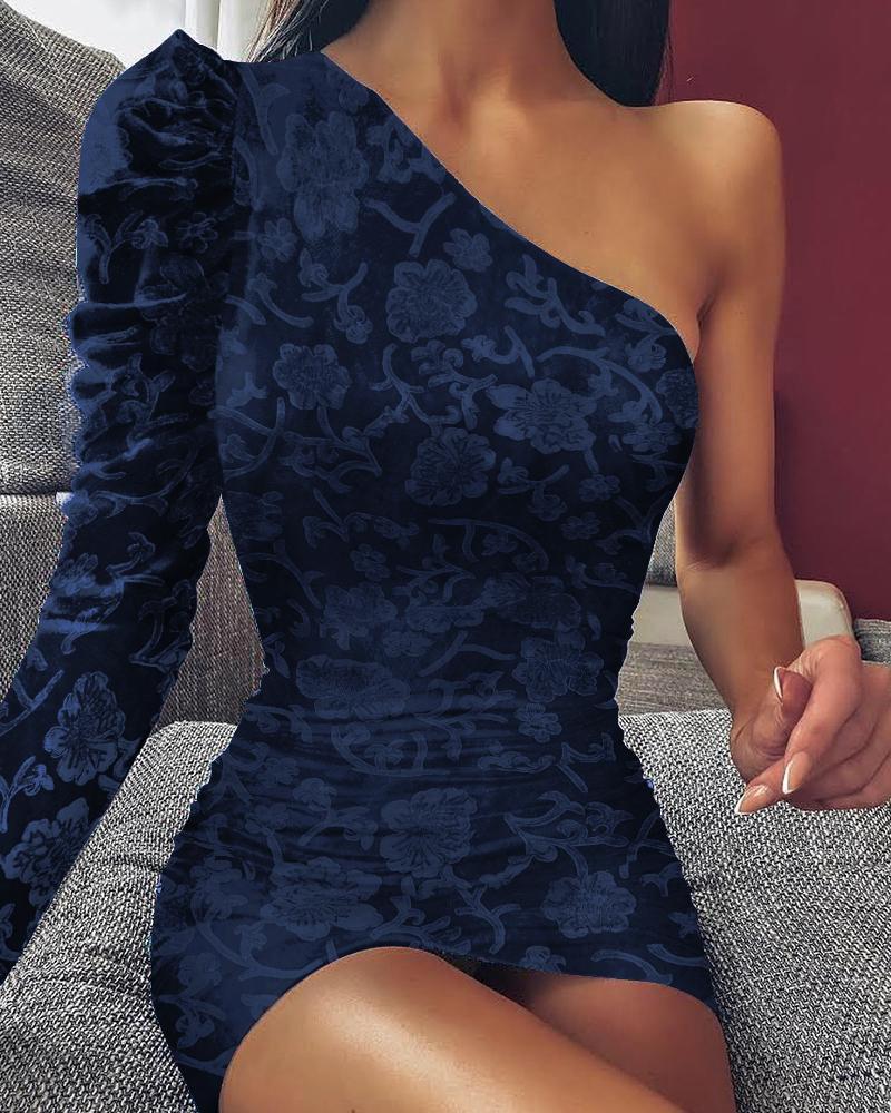 One Shoulder Floral Jacquard Dress фото