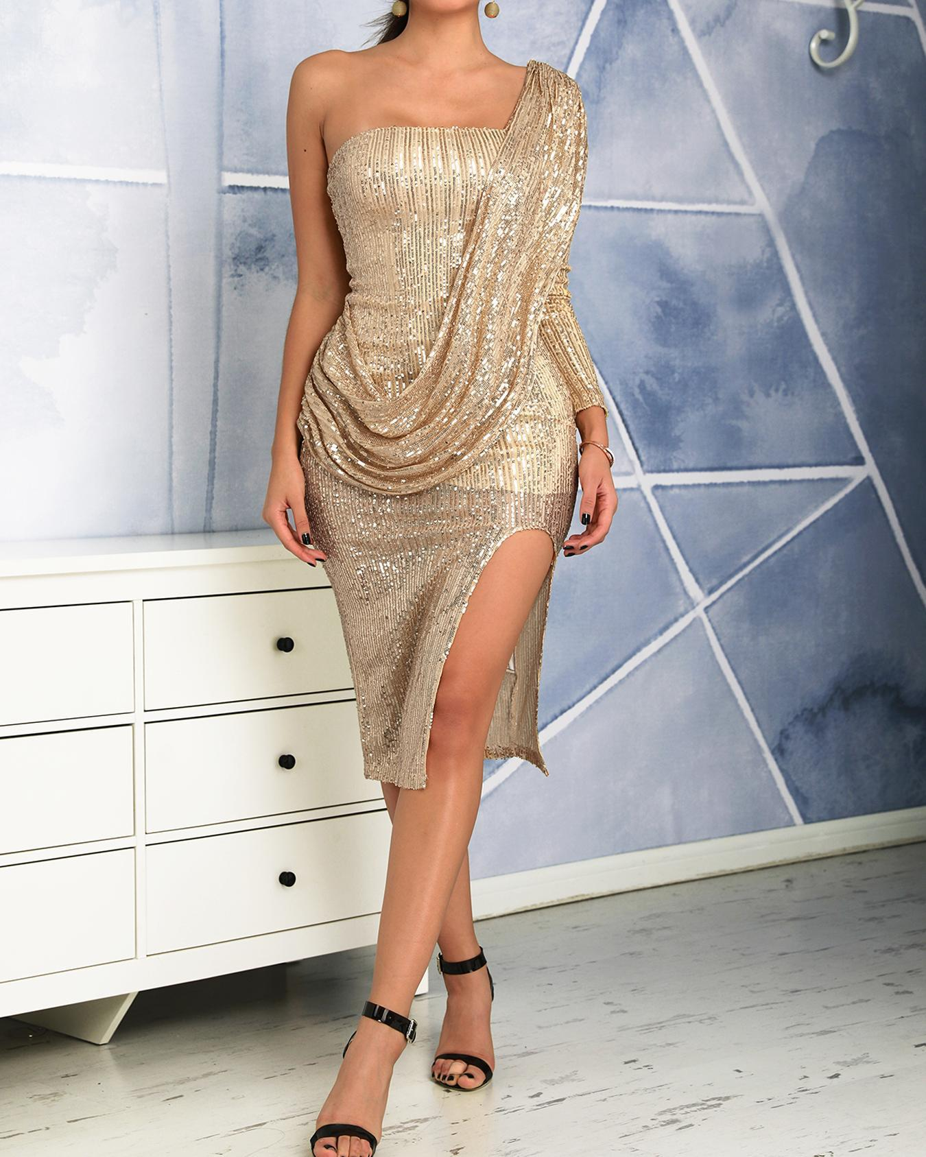 chicme / Sequin One Shoulder Drape Design Slit Party Dress