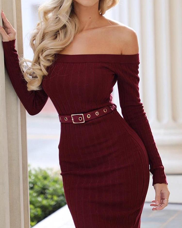 Off Shoulder Bodycon Dress With Belt фото