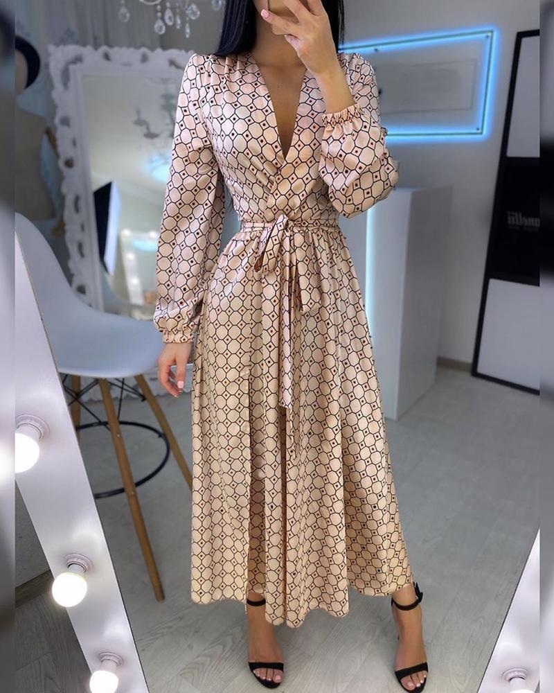 joyshoetique / Geometry Polkadot Print Plunge Wrap Dress