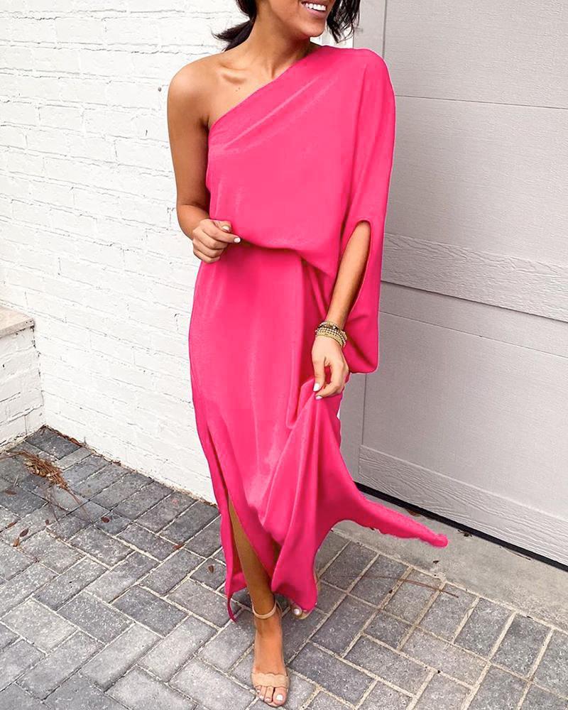 Solid One Shoulder Slit Dress фото