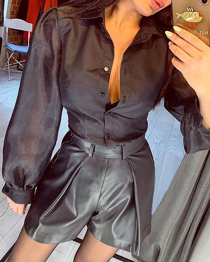 chicme / Blusa de malla de manga larga con botones