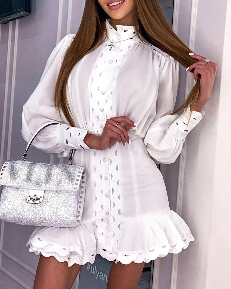 Lantern Sleeve Layered Ruffles Dress
