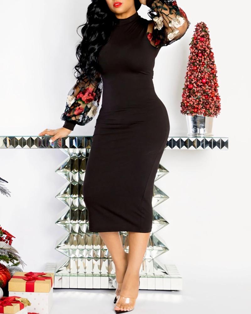 boutiquefeel / Vestido a media pierna con bordado floral de malla