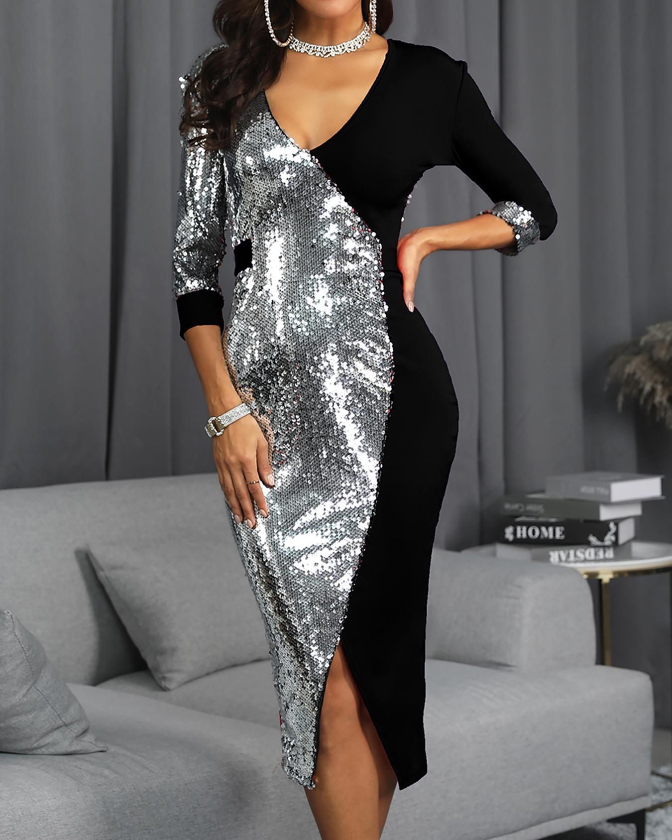 Colorblock Sequin Patchwork Slit Midi Dress фото