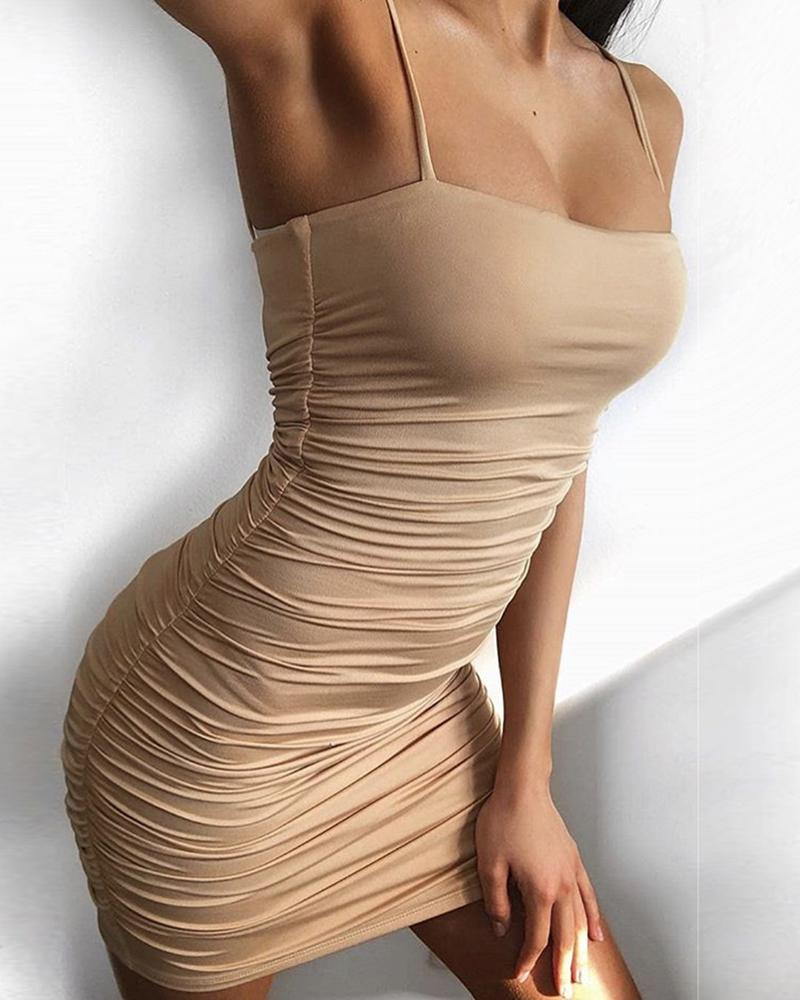 Spaghetti Strap Scrunched Bodycon Mini Dress фото