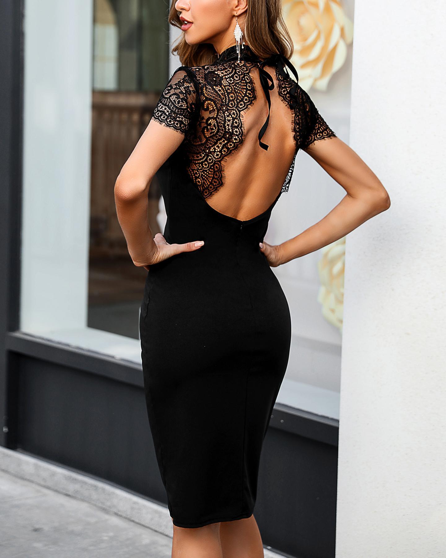 Eyelash Lace Backless Mesh Midi Dress фото