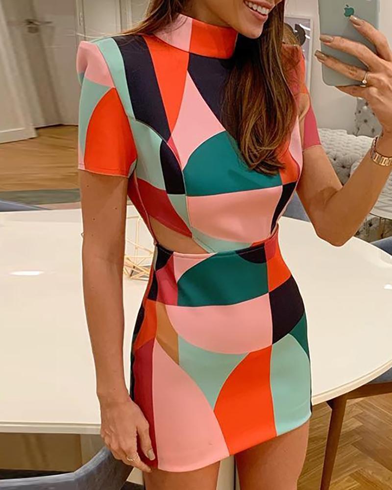 Geo Print Short Sleeve Bodycon Dress chicme