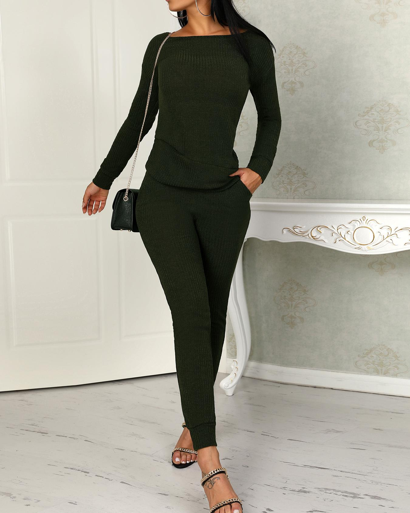 Long Sleeve Drawstring Knitted Top & Pants Set, Army green