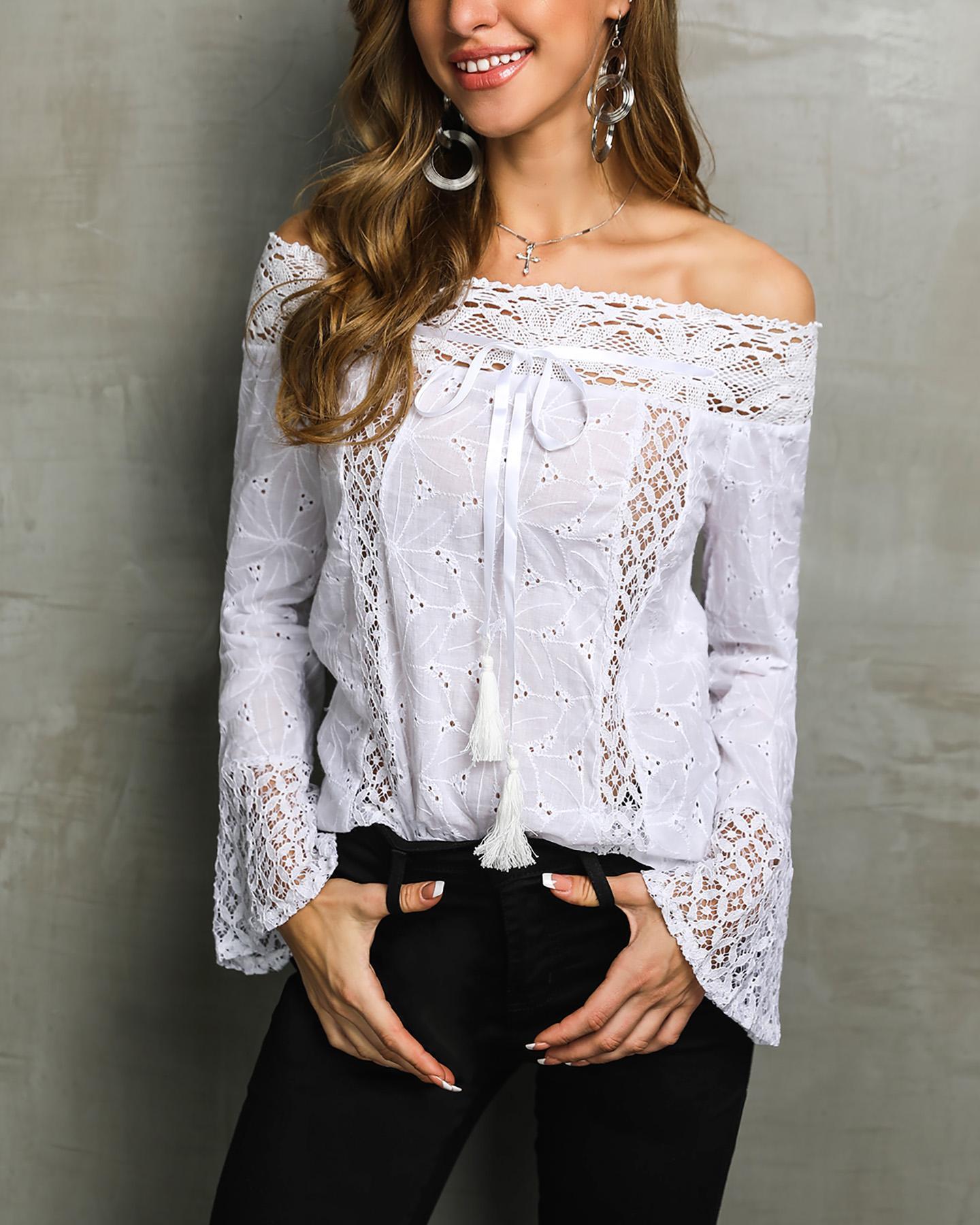 chicme / Elegante encaje de hombro blusa casual