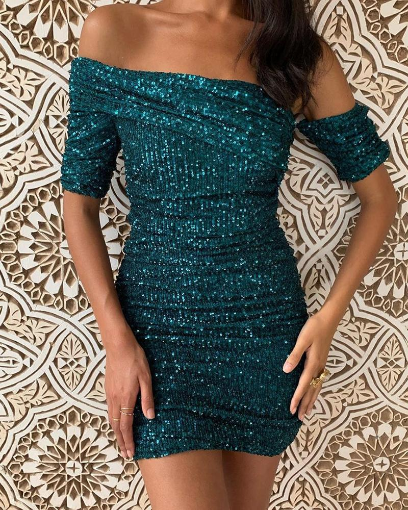 chicme / Glitter Off Shoulder Ruched Sequins Bodycon Dress